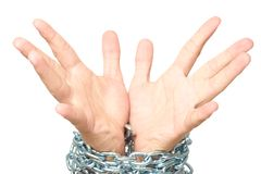Man palms hands isolated on white with chain Stock Photo