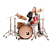 Man and drums. Man palying the drums absorbed stock photos