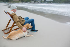 Man pampering dog while sitting on chair Royalty Free Stock Photos