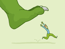 Man in panic escaping from giant monster step. Cartoon illustration of man in panic fleeing from giant monster step Stock Images