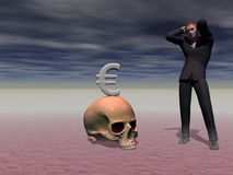 Man panics in front of the crisis - 3d render Stock Photo
