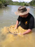 Man panning for gold Stock Photo