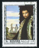 Man by Paolo Veronese. MANAMA - CIRCA 1971: stamp printed by Manama, shows Portrait of a Man by Paolo Veronese, circa 1971 Royalty Free Stock Photo
