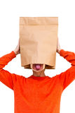 Man in paper bag on head Royalty Free Stock Photos