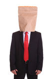 Man with a paper bag on head Royalty Free Stock Image