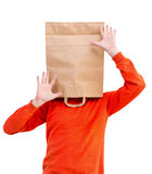 Man in paper bag on head Stock Images