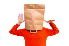 Man in paper bag on head. Royalty Free Stock Image