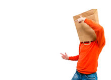 Man in paper bag on head. Royalty Free Stock Photography