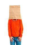 Man in paper bag on head Royalty Free Stock Image