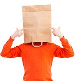 Man  in paper bag on head Royalty Free Stock Photography