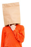 Man  in paper bag on head Royalty Free Stock Photo