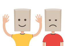 Man with a paper bag, sad and happy vector illustration
