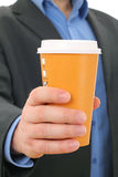 Man with paper coffee cup, take away Royalty Free Stock Images