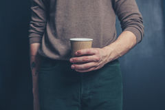 Man with a paper cup Stock Photography