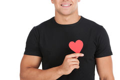 Man with paper heart. Royalty Free Stock Photos