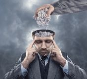 Man with paper in his brain Royalty Free Stock Images