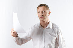 Man with paper Stock Photo