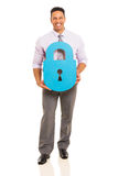 Man with paper lock Royalty Free Stock Photo