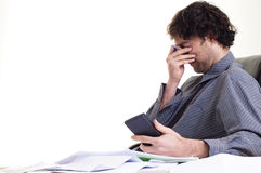 Man and paper work Stock Photo