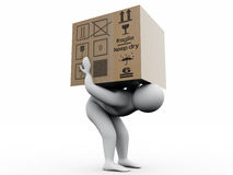 Man with paperbox. 3d man modeled with C4D Stock Photo