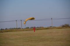 Man after parachuting Stock Photos