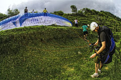 Man paragliding in Bal Stock Photo