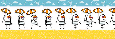 Man with parasol & sun glasses. Walking cartoon character for animated sprite stock illustration