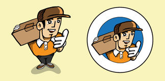 Man parcel delivery icons Stock Photography