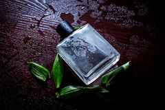 Man parfume. With green petals royalty free stock photography
