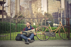 Man in a park. With his bike Stock Photo