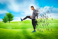 Man in a park sense of freedom. Person emotions and expressions portrait Stock Photo
