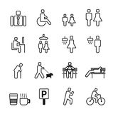 Man in park white line style Icons set. Vector Royalty Free Stock Images
