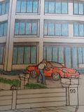 Man parking red car hand drawing. Pencil drawing and painting man patking red car stock photo