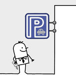 Man & parking sign Stock Image