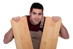 Man with parquet Stock Images