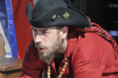 Man participating as a pirate. MONTREAL-CANADA-SEP TEMBER 16: Man participating as a pirate at Les Grands voiliers sur les Quais 2012 Tall Ships on the Quays Stock Photos