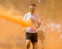 Man participating in the Color Run in Prague Royalty Free Stock Image