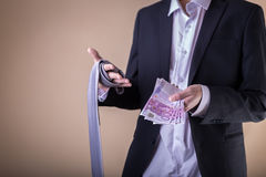 Man after party with banknotes. Gigolo with payment Stock Photos