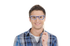 Man in party glasses. Stock Image