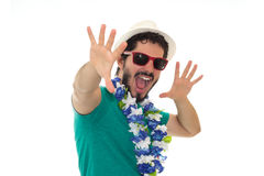 Man in party spirit, having fun and laughing. Stock Photos