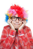 Man with party wig Royalty Free Stock Images