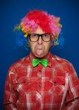 Man with party wig Stock Image