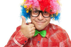 Man with party wig Royalty Free Stock Photo