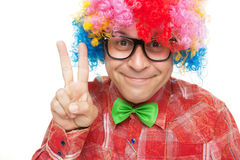 Man with party wig Royalty Free Stock Photos