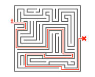 Man pass way intricacy labyrinth isometric maze background design template vector illustration Stock Image