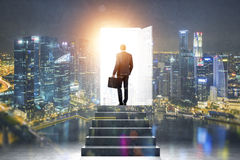Man on pathway of opportunities Royalty Free Stock Photos