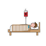 Man patient on bed cartoon Royalty Free Stock Photography