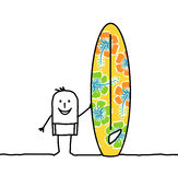 Man with patterned surfboard Royalty Free Stock Photography