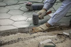 Concrete floor worker royalty free stock photos