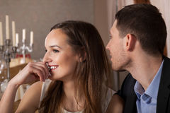 Man paying a compliment. Young men paying a compliment beautiful woman stock photos